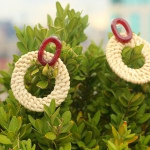 NEW Handmade Earrings   Straw bamboo wood round